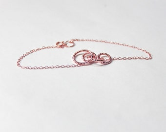ROSE GOLD BRACELET. Infinity Love.Bridesmaid,Bridal,Simple,Everyday,Gift for Girlfriend.Friendship Gift,Forever Bracelet, Love, Bridal Party
