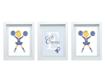 Cheerleader Wall Decor Little Girl Bedroom Decor Girl Nursery Decor Sport Wall Art Nursery Art 3 - 8X10 Prints Choose Your University Color