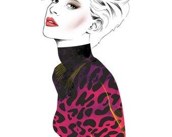 Girl with Pink Leopard Print