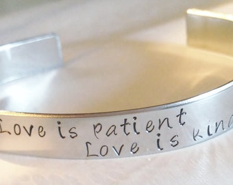 Personalized stainless steel cuff bracelet. Hand stamped with your names or quotes. Great Mother's day or Father's Day gifts
