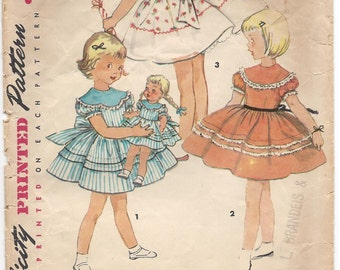 1954 Simplicity #4914, Girls' Dress and Doll Dress, Sewing Pattern, Size 1