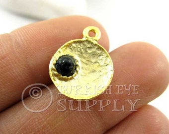 5 pc Dished Gold Disc Charms with Onyx Black Beads, Turkish Jewelry