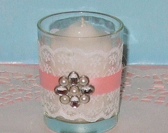 Shabby Chic Wedding Decoration / Wedding Votive Candle Holder / English Garden Wedding / Victorian Wedding / PInk Wedding Rhinestone /6