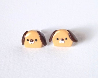 Dog Earrings - Hypoallergenic Plastic Posts - Brown Puppy Dog Studs - Cute Animal Earrings - Non Metal Posts for Sensitive Ears