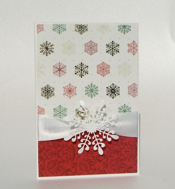 Items similar to christmas card set of 3 elegant handmade for Elegant homemade christmas cards