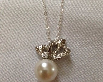 Bow Pearl Necklace, pearl necklace, pearl, necklace, bow, silver necklace, silver