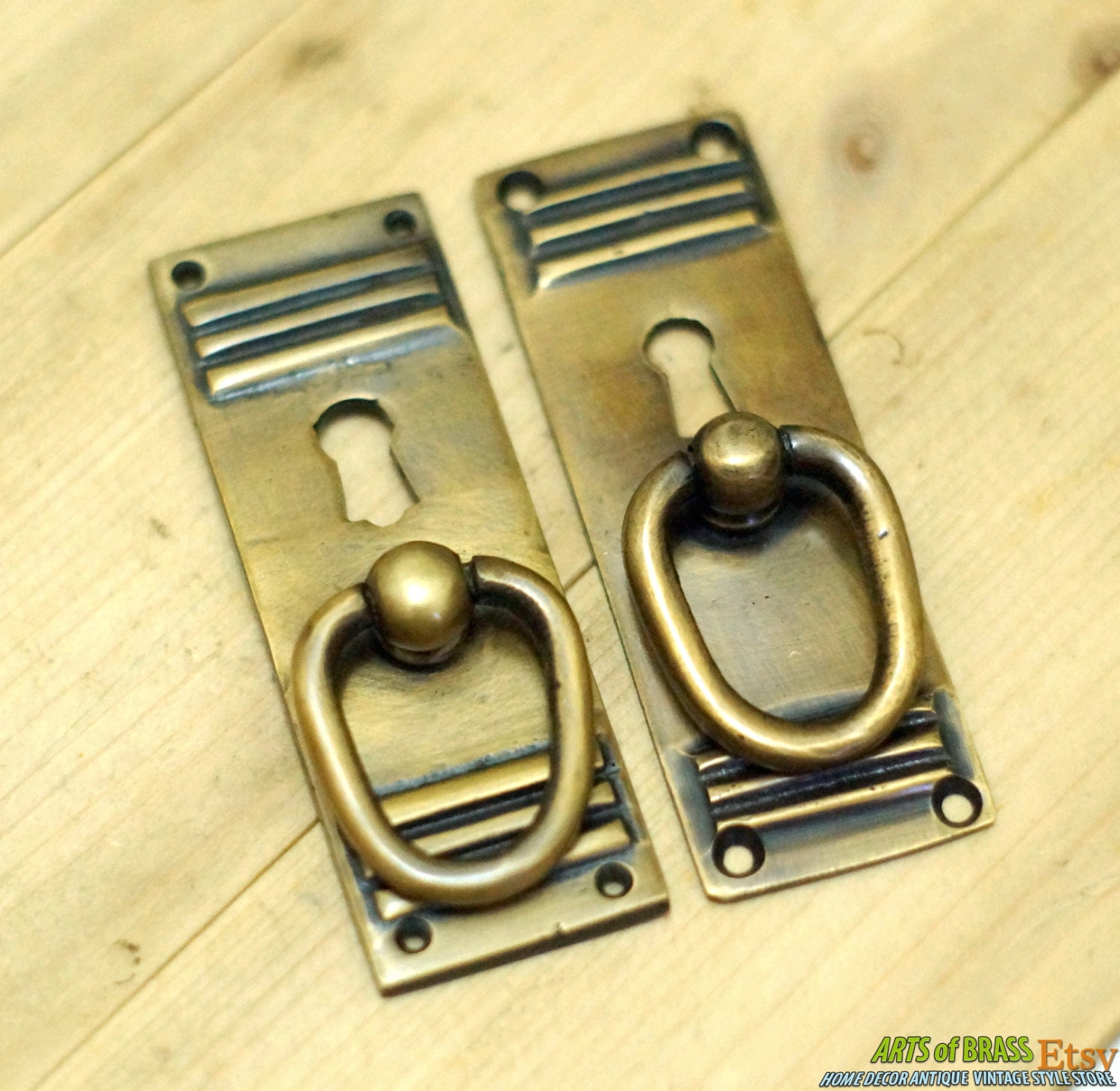 Inches of 2 pcs vintage key hole handle art deco for Key drawer handles
