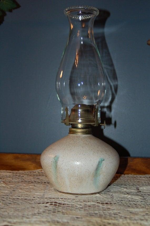Handmade Ceramic Oil Lamps : Pottery oil lamp vintage handmade by mrswinterscottage