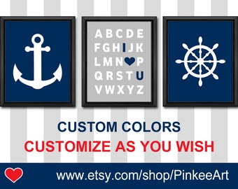 Nautical Boy Nursery navy and gray, Nautical Nursery Wall Art Steering Wheel Anchor, Nautical Baby Room,Choose Colors Figures Patterns Quote