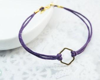 Hexagon bracelet, hexagon charm, gold bracelet, charm bracelet, cute bracelet, gold Bracelet with Colorful Cord for her, friendship