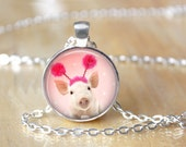 Pink Pig Necklace, Peeking Pig, Piglet, Funny Piggy, Photo Charm, Jewelry