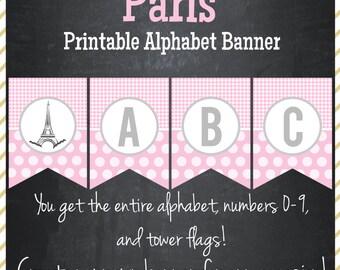 Paris Birthday Printable Alphabet Banner - Instant Download