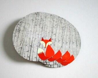 Fox Coaster Set - Drink Coasters - Fox Coasters - Fox and Birch Trees - Nature Lover Gift - Woodland Decor - Rustic Cabin Decor
