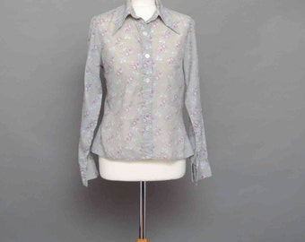 70's Grey Shirt With Pink Floral Print Medium Size
