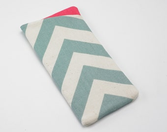 Sunglasses Case, Eyeglasses Case, Glasses Case in Blue Chevron Fabric