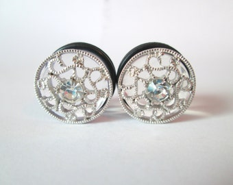 Silver Filigree Swirls Sparkle Rhinestone Plugs - Available in 1/2 in, 9/16 in, 5/8 in