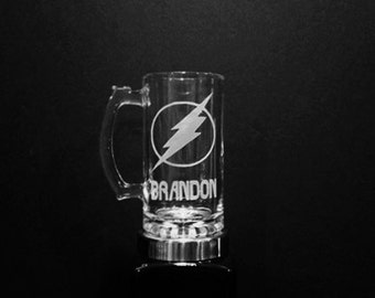 The Flash Mug - Personalized Flash Lightning Bolt Mug - DEEP ETCHED Glass Flash Beer Mug
