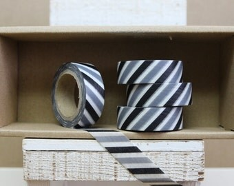 Washi Tape - black & grey stripes - diagonal stripes - 9008