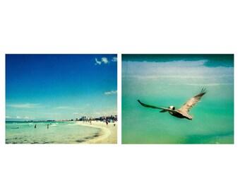 Beach photography set, Florida photography, ocean art set, set of 2 prints, beach art set, pelican photography, Siesta Key, Sarasota