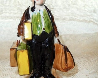 Carpet Bagger Carrying Luggage Smoking a Pipe Figurine-Old Traveling Man with Suitcases & Pipe-Rare Old Figurine- Porcelain-Colorful Details