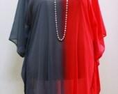 "Plus size tunic : Bust 50""-56"" 3x-4x red-grey chiffon sweet chic kaftan"