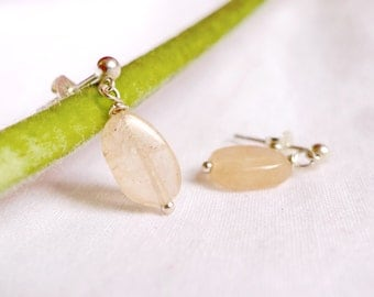 Cloudy quartz earrings with 925 Sterling Silver *Free Worldwide Shipping*