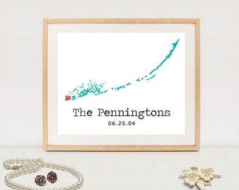Florida Keys personalized wedding map - Custom wedding date map poster - Key West Printable wedding gift - DIGITAL FILE!