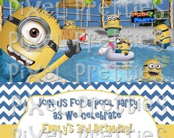 "Minion Pool Party Birthday Invitation - High Resolution - 5""x7"" - PRINTABLE Digital File"