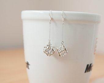 Vintage Fashion Jewelry White Crystal Cube Dangle Earrings Drop Earrings
