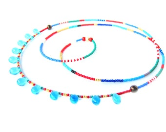 Long Beaded Necklace - Blue Drop Glass Necklace - Long Tribal Necklace - Seed Bead Necklace - Glass Bead Necklace - Beaded Layering Necklace