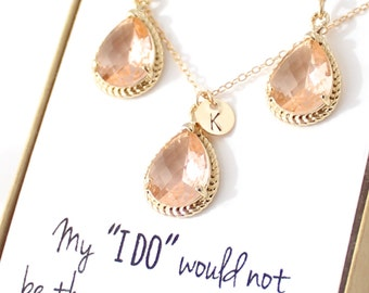 Bridesmaid Jewelry (Peach Champagne / Gold Rope Rim Necklace and Earrings Set ENR1)