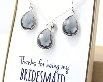 Charcoal Gray / Silver Teardrop Necklace and Earring Set - Bridesmaid Gift - Charcoal Bridesmaid Set - Bridesmaid Jewelry Set - ENB1