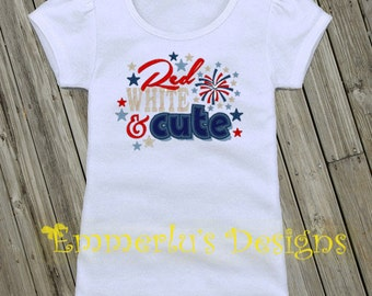Red White and Cute Patriotic Shirt or Bodysuit