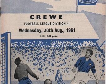 Vintage Football Programme - Gillingham v Crewe, 1961/62 season