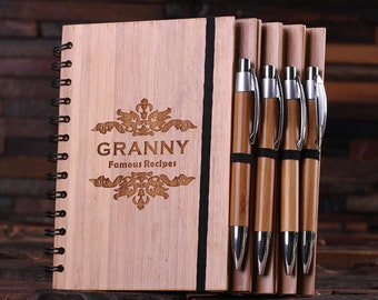 Engraved Customized Bamboo Spiral Notebook, Guest Book and Pen Personalized Monogram Birthday or Graduation Gift (024296)