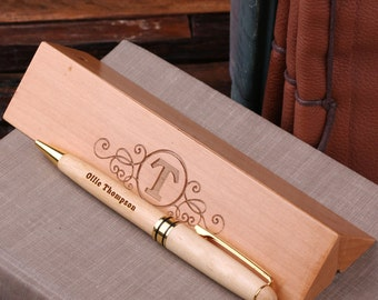 Personalized Wood Desktop Pen Set Engraved and Monogrammed Corporate Promotional Gift (024202)