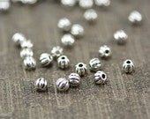 sterling silver pumpkin spacer  beads - sterling silver beading supplies - sterling silver round beads - 3mm sterling silver beads -30pcs