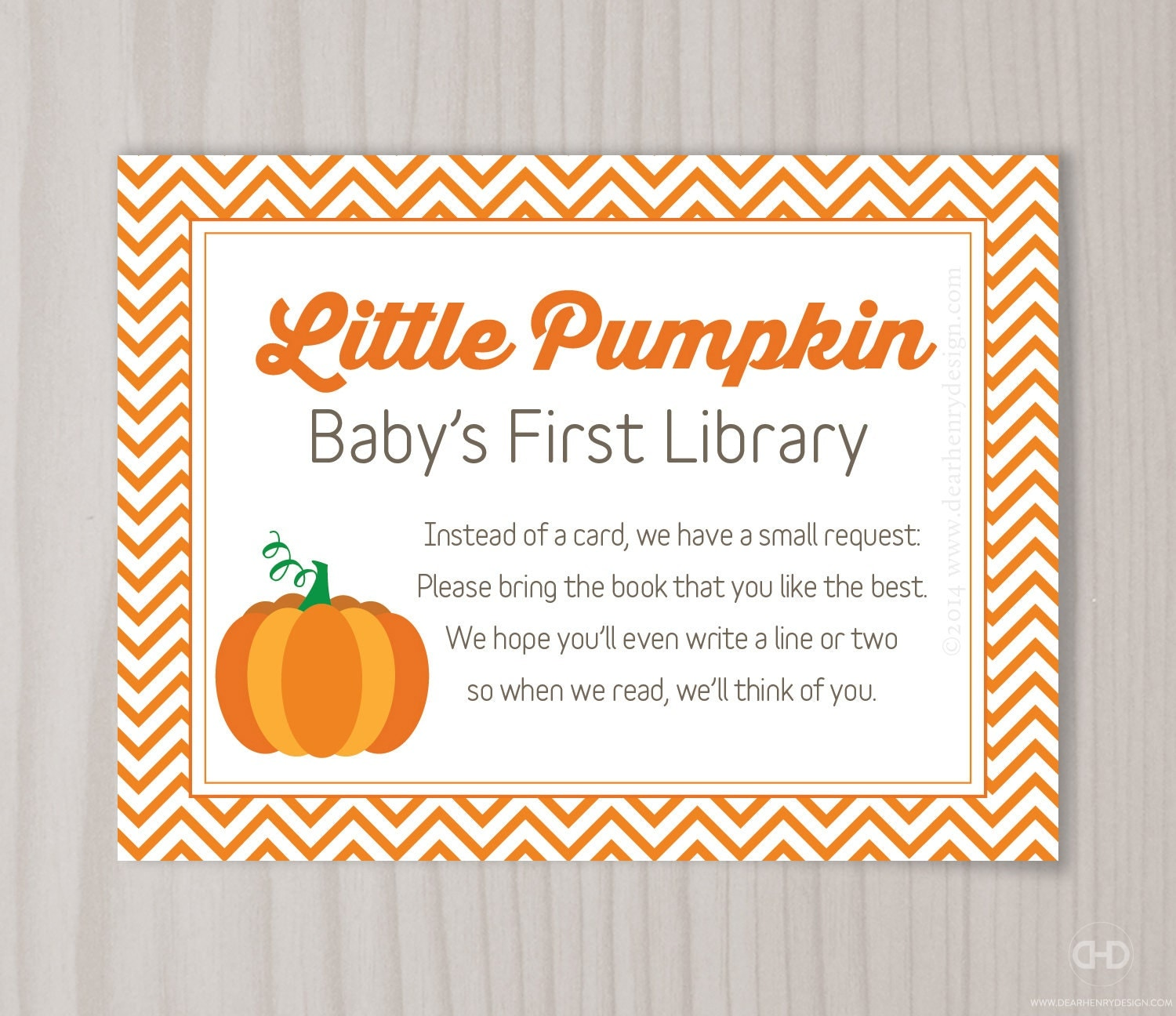 Little Pumpkin Book Request Card Pumpkin Baby Shower Bring a