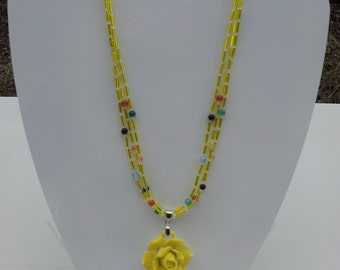 Handmade  necklace with porcelain pendant  # 00N9