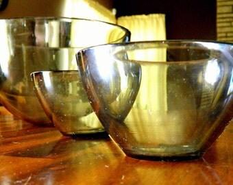 "Trio of 1950's Orrefors (Sweden) ""Fuga"" Gray Glass Bowls--Award-Winning Sven Palmqvist Design--5-1/8"" H x 8-1/2"" Dia.--2-1/4"" H x 4-1/8"" Dia"