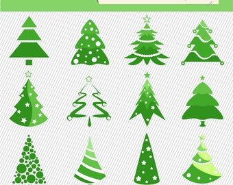 Christmas Tree Clipart. Christmas Tree Digital Images.  Christmas Tree Illustration. 216