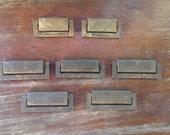 Vintage Hardware:  Set Of 7 Solid Brass Hanging Rectangle Drawer Pulls
