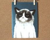Painted Grumpy Cat Blank Card