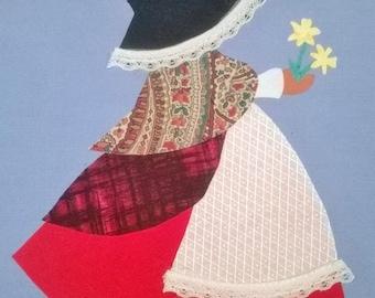 Instant Download. Welsh Sun Bonnet Siwan quilt  applique pattern,  Sun bonnet Sue in Welsh Costume.