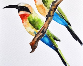 ORIGINAL Watercolor bird painting - Colorfull Bee-eaters, Illustration Painting 6x8 inch