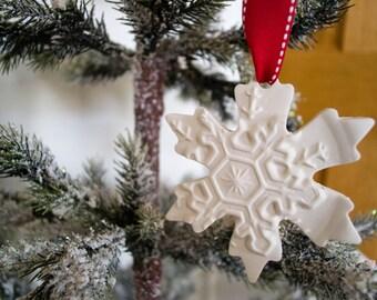 "Christmas Ornaments (Set of 3) - 4"" Clay Snowflake Tree Ornaments - Christmas Decor"