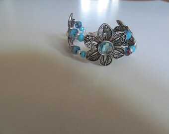 Flower bracelet,silver flower bracelet,gemstone flower bracelet,