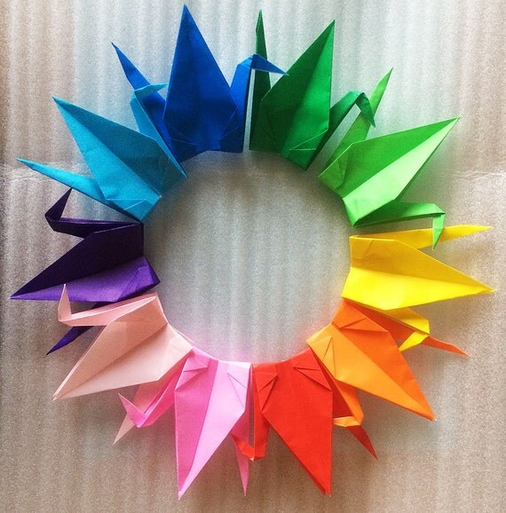 1000 6 multi color origami paper cranes by origamilanddeco for 1000 paper cranes wedding decoration