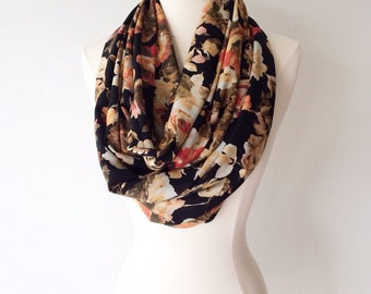 Black & Coral Floral Rayon Infinity Scarf - Handmade - For Her, Spring Fashion, Mother's Day, Summer