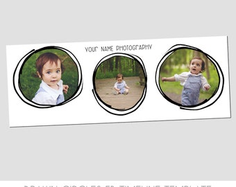 CLEARANCE! - Simple Facebook Timeline Cover Template - Drawn Circles - Fun - Families - Photo Template - Easy - Children - Babies